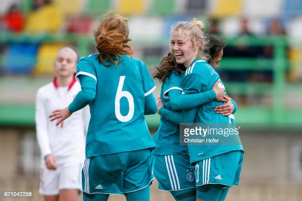 Sophie Krall of Germany and team mates celebrate after scoring during the Under 15 girls international friendly match between Czech Republic and...