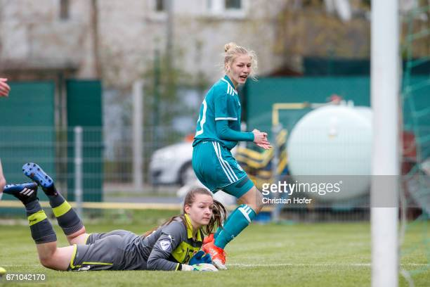 Sophie Krall of Germany celebrates after scoring past goalkeeper Nikola Kucerova of Czech Republic during the Under 15 girls international friendly...