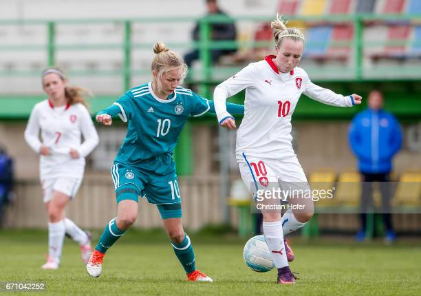 Sophie Krall of Germany challenges Hana Pavlasova of Czech Republic for the ball during the Under 15 girls international friendly match between Czech...