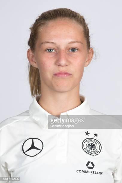 Sophie Krall poses during the U16 Germany Girls Team Presentation at Hotel Rheinischer Hof on September 11 2017 in Dinklage Germany