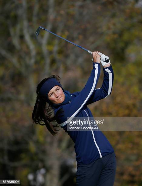 Sophie Lamb hits a shot during Curtis Cup practice at Quaker Ridge GC on November 22 2017 in Scarsdale New York