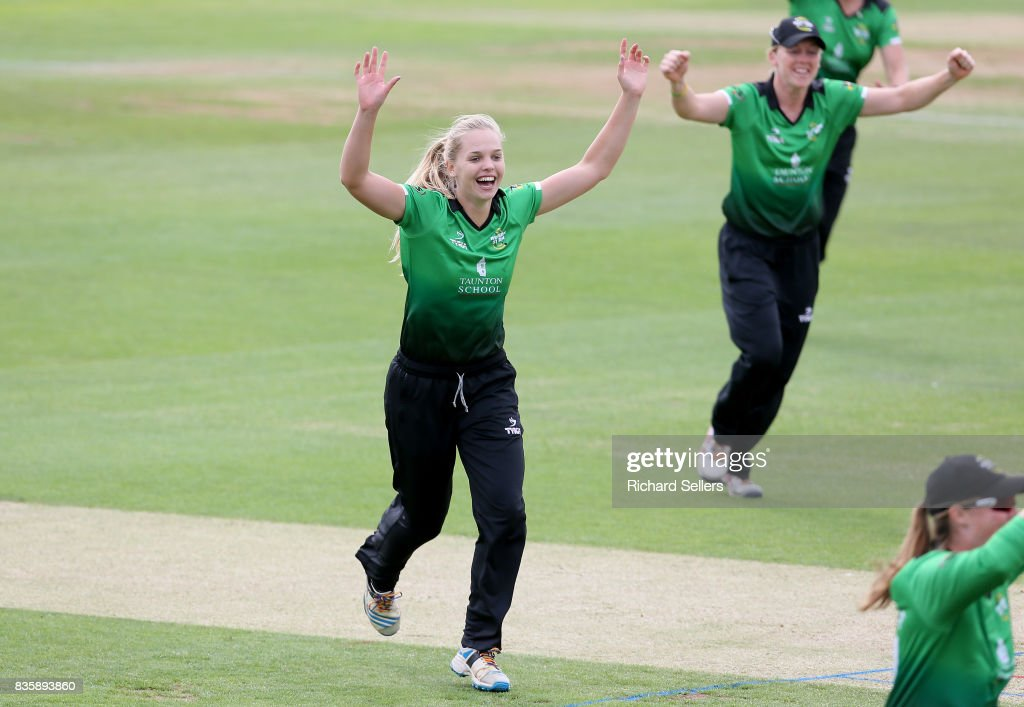 Sophie Luff of Western Storm celebrates during the Kia Super League between Yorkshire Diamonds v Western Storm at York on August 20, 2017 in York, England.