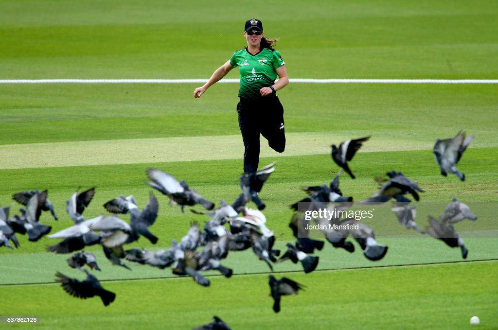 Sophie Luff of Western Storm fields a ball during the Kia Super League match between Surrey Stars and Western Storm at The Kia Oval on August 23, 2017 in London, England.