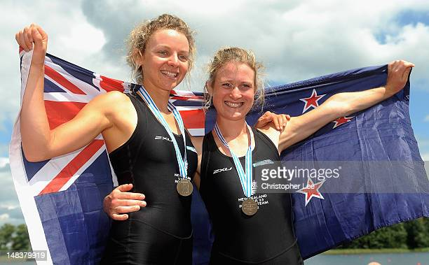 Sophie MacKenzie and Georgia Hammond of New Zealand celebrate winning Bronze in the Lightweight Women's Double Sculls Final during Day 5 of the 2012...