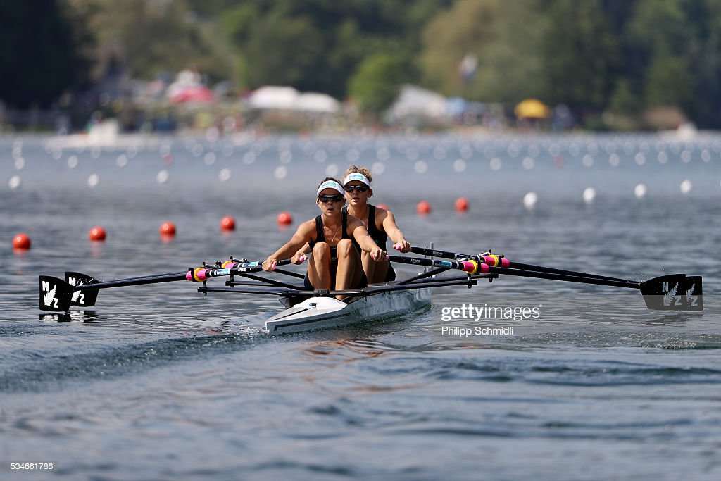 Sophie Mackenzie (R) and Julia Edward compete in the Lightweight Women's Double Sculls heats during day 1 of the 2016 World Rowing Cup II at Rotsee on May 27, 2016 in Lucerne, Switzerland.