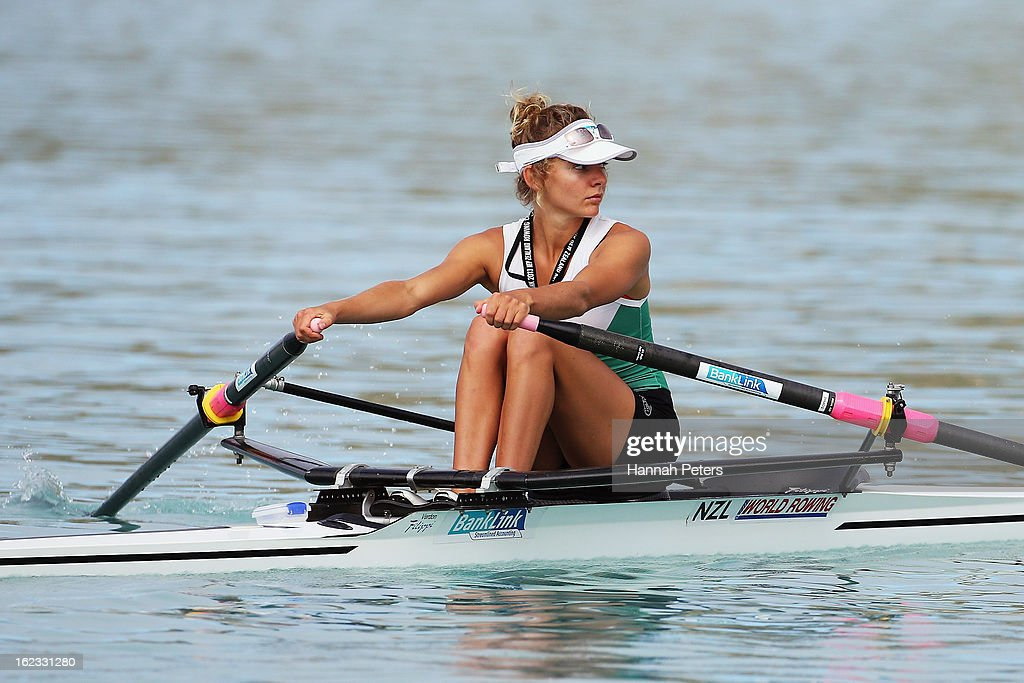 Sophie MacKenzie of Central competes in the Lightweight Women's 1X final during the New Zealand Rowing Championships at Lake Ruataniwha on February 22, 2013 in Twizel, New Zealand.
