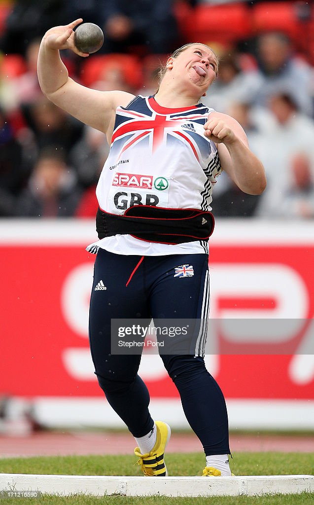<a gi-track='captionPersonalityLinkClicked' href=/galleries/search?phrase=Sophie+McKinna&family=editorial&specificpeople=5968315 ng-click='$event.stopPropagation()'>Sophie McKinna</a> of Great Britain competes in the womens shot put during day two of the European Athletics Team Championships at Gateshead International Stadium on June 23, 2013 in Gateshead, England.
