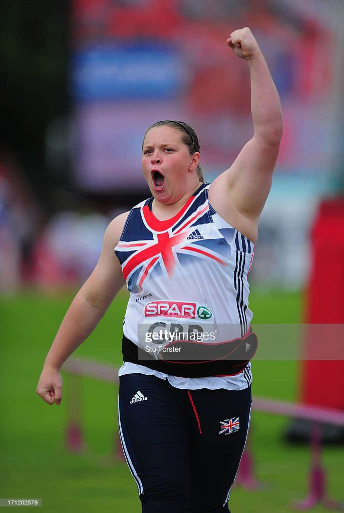 <a gi-track='captionPersonalityLinkClicked' href=/galleries/search?phrase=Sophie+McKinna&family=editorial&specificpeople=5968315 ng-click='$event.stopPropagation()'>Sophie McKinna</a> of Great Britain in action in the Womens Shot Put during day two of the European Athletics Team Championships at Gateshead International Stadium on June 23, 2013 in Gateshead, England.