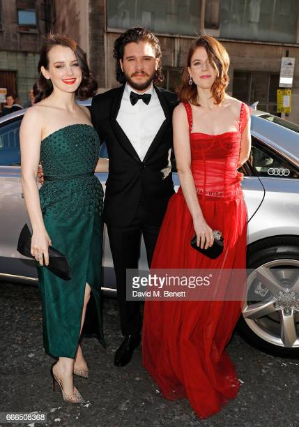 Sophie McShera Kit Harington and Rose Leslie arrive in an Audi at the Olivier Awards at Royal Albert Hall on April 9 2017 in London England