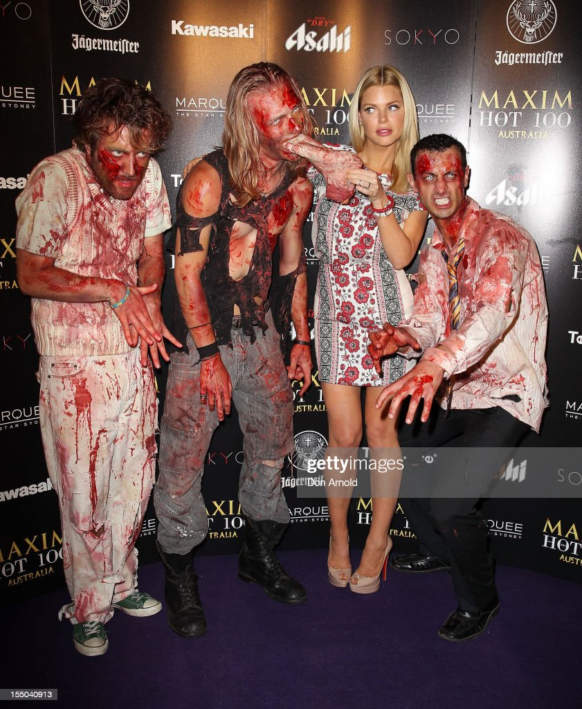 Sophie Monk attends the Maxim Australia Hot 100 Halloween Party at Marquee Nightclub on October 31 2012 in Sydney Australia