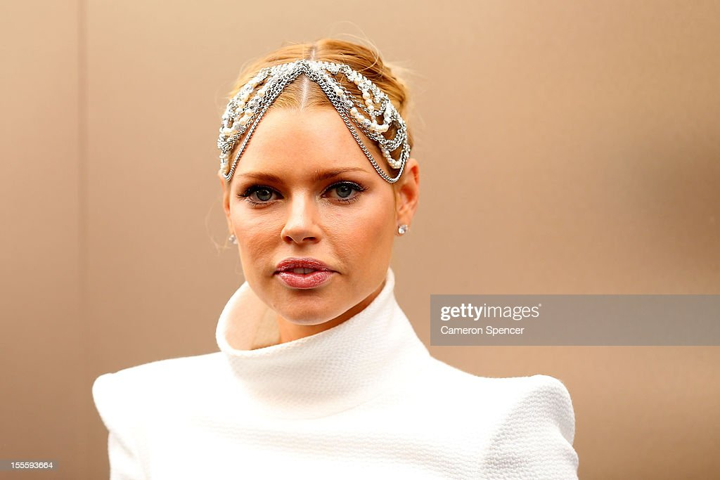 Sophie Monk poses for a photo in the birdcage on Melbourne Cup Day at Flemington Racecourse on November 6, 2012 in Melbourne, Australia.