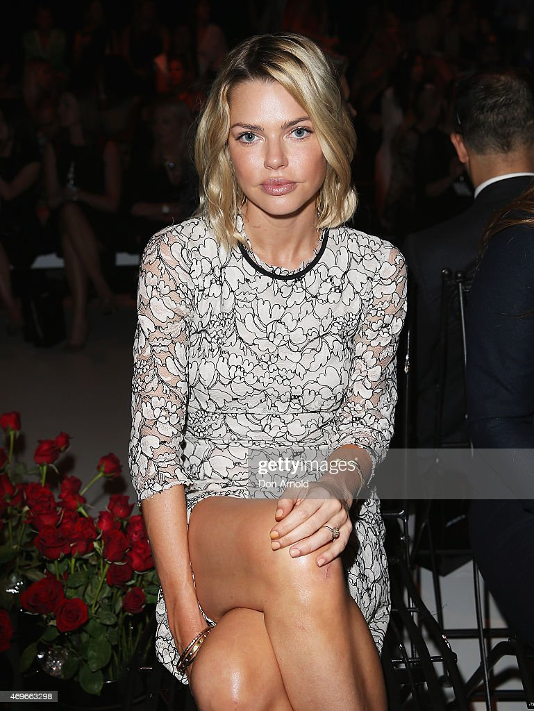 Sophie Monk sits front row at the Jayson Brunsdon show at MercedesBenz Fashion Week Australia 2015 at Carriageworks on April 14 2015 in Sydney...