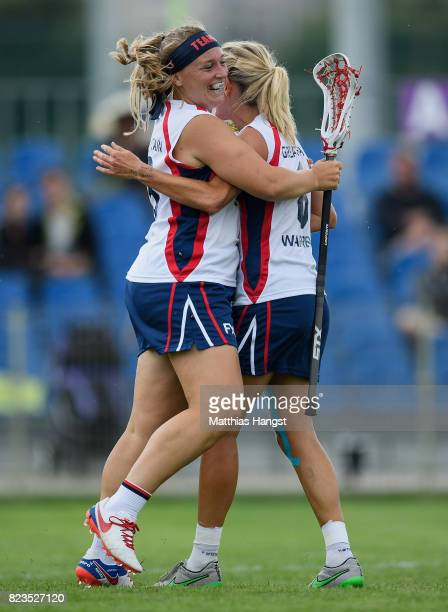 Sophie Morrill and Laura Warren of Great Britain celebrate during the Lacrosse Women's match between Great Britain and Japan of The World Games at...