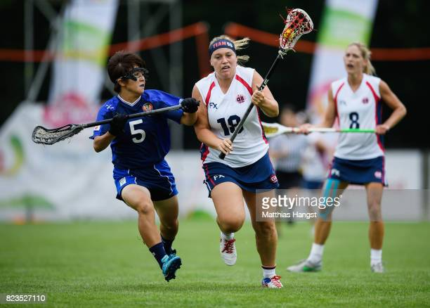 Sophie Morrill of Great Britain is challenged by Naomi Iwata of Japan during the Lacrosse Women's match between Great Britain and Japan of The World...