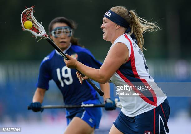 Sophie Morrill of Great Britain is challenged by Rei Ikeda of Japan during the Lacrosse Women's match between Great Britain and Japan of The World...