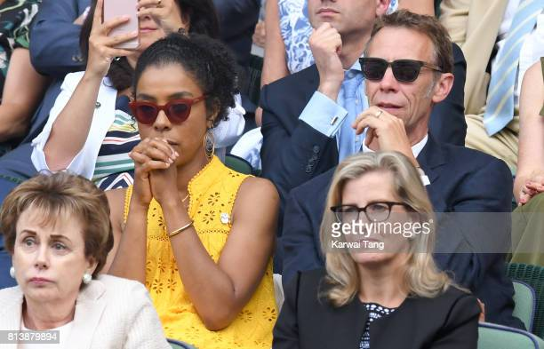 Sophie Okonedo and Sophie Countess of Wessex attend day 11 of Wimbledon 2017 on July 13 2017 in London England