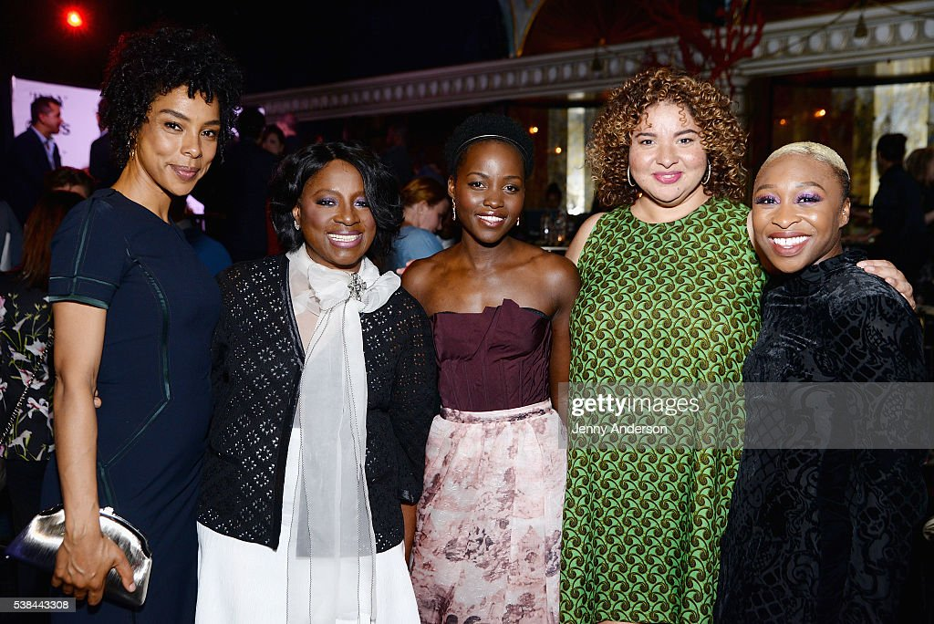 Sophie Okonedo, LaTanya Richardson, Lupita Nyong'o, Liesl Tommy and Cynthia Erivo attend the Tony Honors Cocktail Party presenting the 2016 Tony Honors For Excellence In The Theatre and honoring the 2016 Special Award recipients at Diamond Horseshoe on June 6, 2016 in New York City.