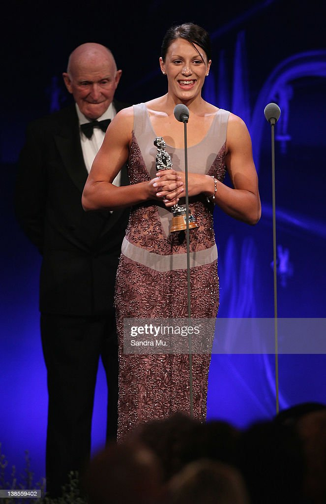Sophie Pascoe accepts her award for Disabled Sportperson of the Year during the 2012 Halberg Awards at Sky City Convention Centre on February 9, 2012 in Auckland, New Zealand.