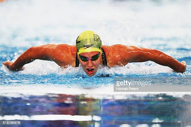 Sophie Pascoe competes in the Women's 100m Butterfly Para heat during the 2016 NZ Open Championships at Sir Owen G Glenn National Aquatic Centre on...