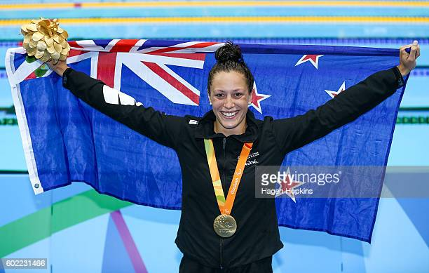 Sophie Pascoe of New Zealand celebrates after winning a gold medal in the Women's 100m Backstroke S10 final on day 3 of the Rio 2016 Paralympic Games...
