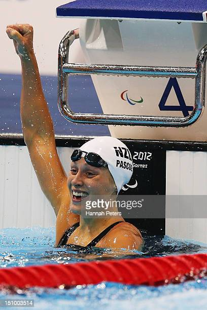 Sophie Pascoe of New Zealand celebrates winning gold in the Women's 200m IM SM10 on day 1 of the London 2012 Paralympic Games at Aquatics Centre on...