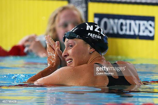 Sophie Pascoe of New Zealand celebrates winning the gold medal in the Women's 100m Breaststroke SB9 Final at Tollcross International Swimming Centre...