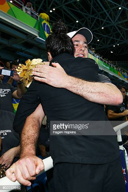 Sophie Pascoe of New Zealand hugs boyfriend Tom Casey after winning a gold medal in the Women's 100m Backstroke S10 final on day 3 of the Rio 2016...