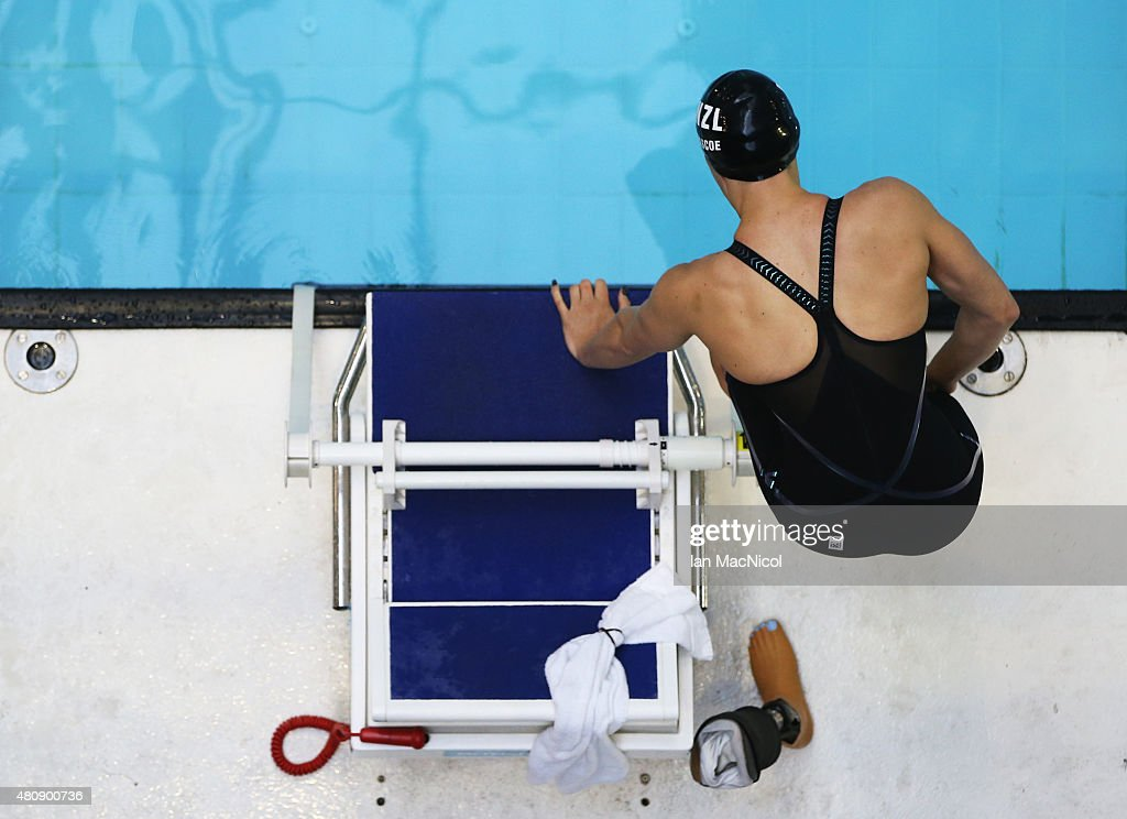 Sophie Pascoe of New Zealand prepares to compete in the heats of the Women's 100m Backstroke S10 during Day Four of The IPC Swimming World Championships at Tollcross Swimming Centre on July 16, 2015 in Glasgow, Scotland.
