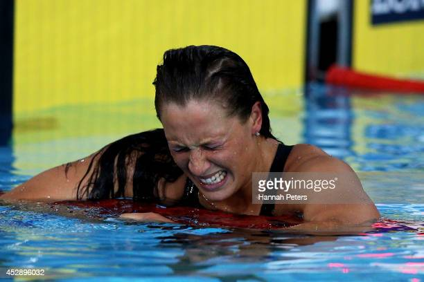 Sophie Pascoe of New Zealand reacts after winning the gold medal in the Women's 200m Individual Medley SM10 Final at Tollcross International Swimming...