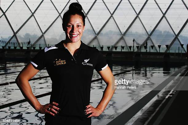Sophie Pascoe poses for a photo after being named during the New Zealand ParaSwimming team announcement at Sir Owen Glenn Aquatic Centre on May 5...