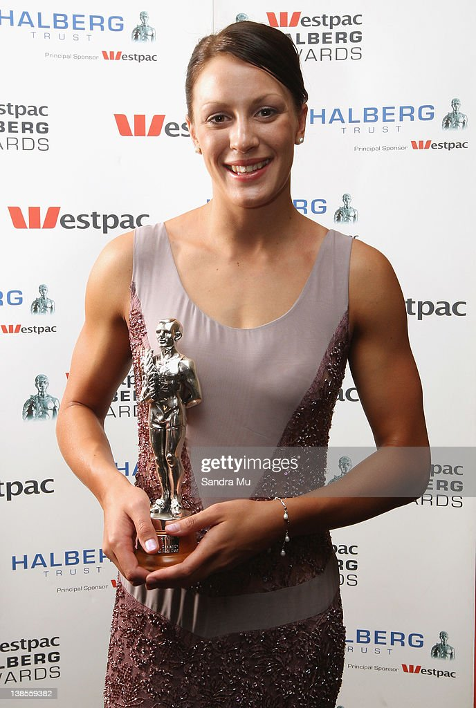Sophie Pascoe poses with her award for Disabled Sportperson of the Year during the 2012 Halberg Awards at Sky City Convention Centre on February 9, 2012 in Auckland, New Zealand.