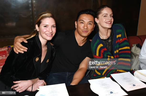 Sophie Pera Prabal Gurung and Eugenie Niarchos attend Prabal Gurung and Caroline Issa's dinner at Shochu Lounge at ROKA to celebrate the arrival of...