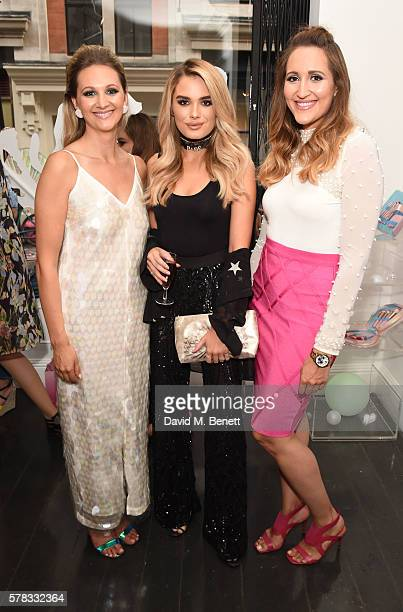 Sophie Pycroft Chloe Lloyd and Hannah Pycroft attend as beauty brand Spectrum Collections launch their AW16 Bomb Shell in Soho on July 21 2016 in...