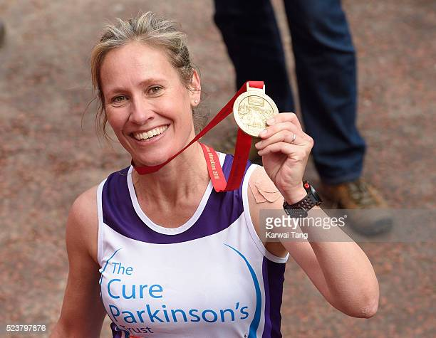 Sophie Raworth finishes the Virgin London Marathon 2016 on April 24 2016 in London England