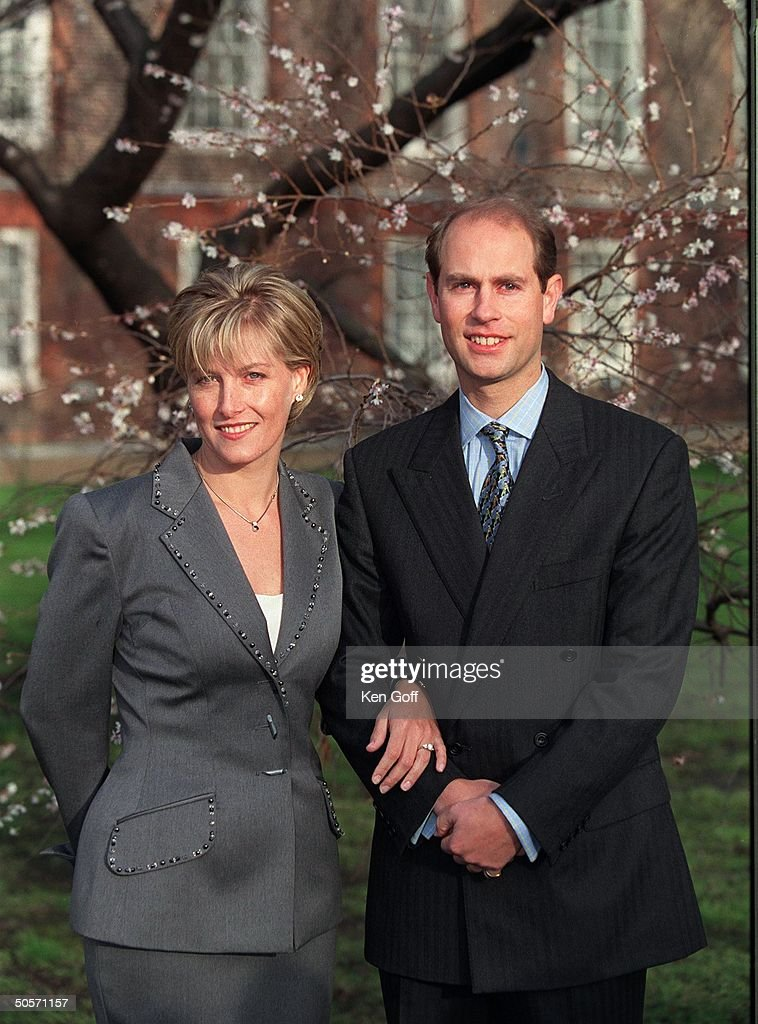 Sophie Rhys-Jones and Britain's Prince Edward posing for photographers at St. James's Palace during announcemnt of their wedding engagement.