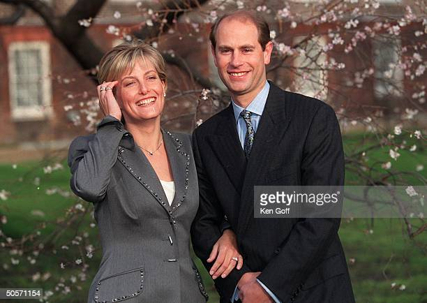 Sophie RhysJones and Britain's Prince Edward smile for photographers on grounds of St James's Palace during announcement of their engagement