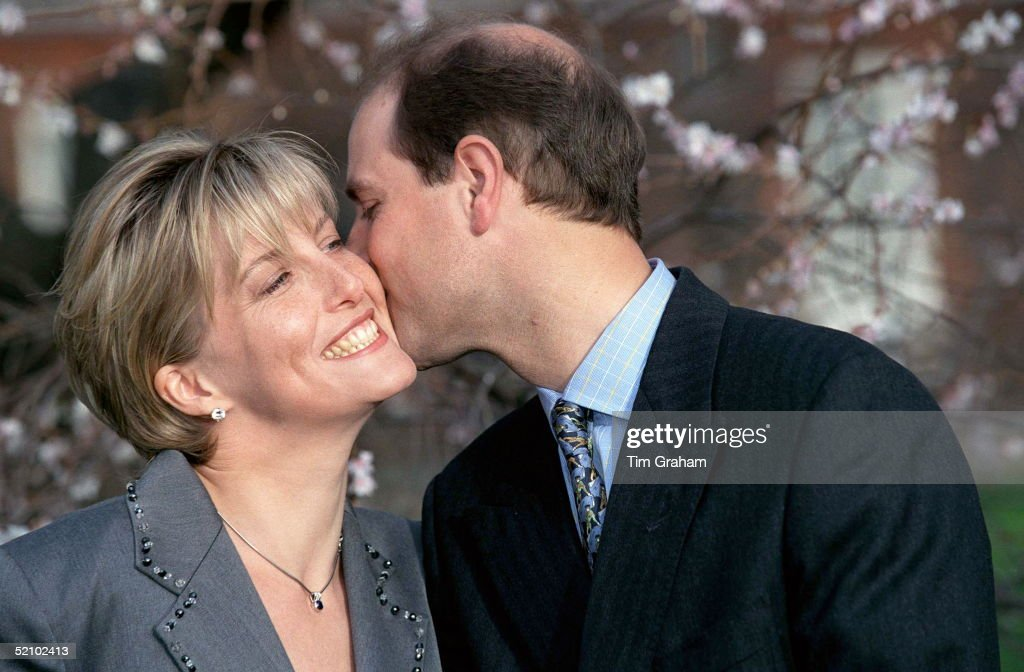 Sophie Rhys-jones And Prince Edward On The Day Of Their Engagement.