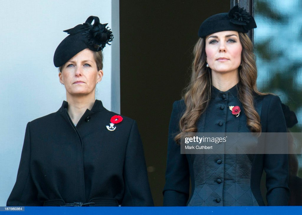 <a gi-track='captionPersonalityLinkClicked' href=/galleries/search?phrase=Sophie+Rhys-Jones+-+Countess+of+Wessex&family=editorial&specificpeople=160757 ng-click='$event.stopPropagation()'>Sophie Rhys-Jones</a>, Countess of Wessex and Catherine, Duchess of Cambridge attend the annual Remembrance Sunday Service at the Cenotaph on Whitehall in London on November 10, 2013 in London, United Kingdom.
