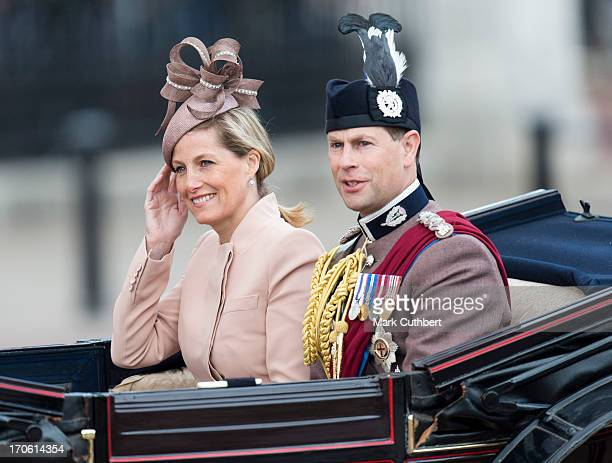 Sophie RhysJones Countess of Wessex and Prince Edward Earl of Wessex during the annual Trooping The Colour ceremony at Horse Guards Parade on June 15...