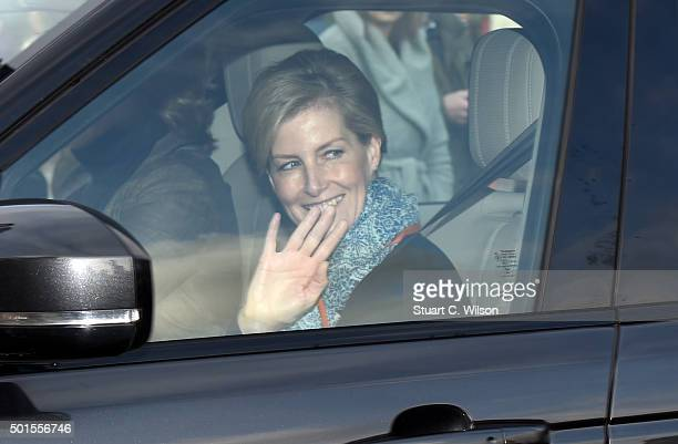 Sophie RhysJones Countess of Wessex arrives for the annual Christmas lunch hosted by The Queen at Buckingham Palace on December 16 2015 in London...