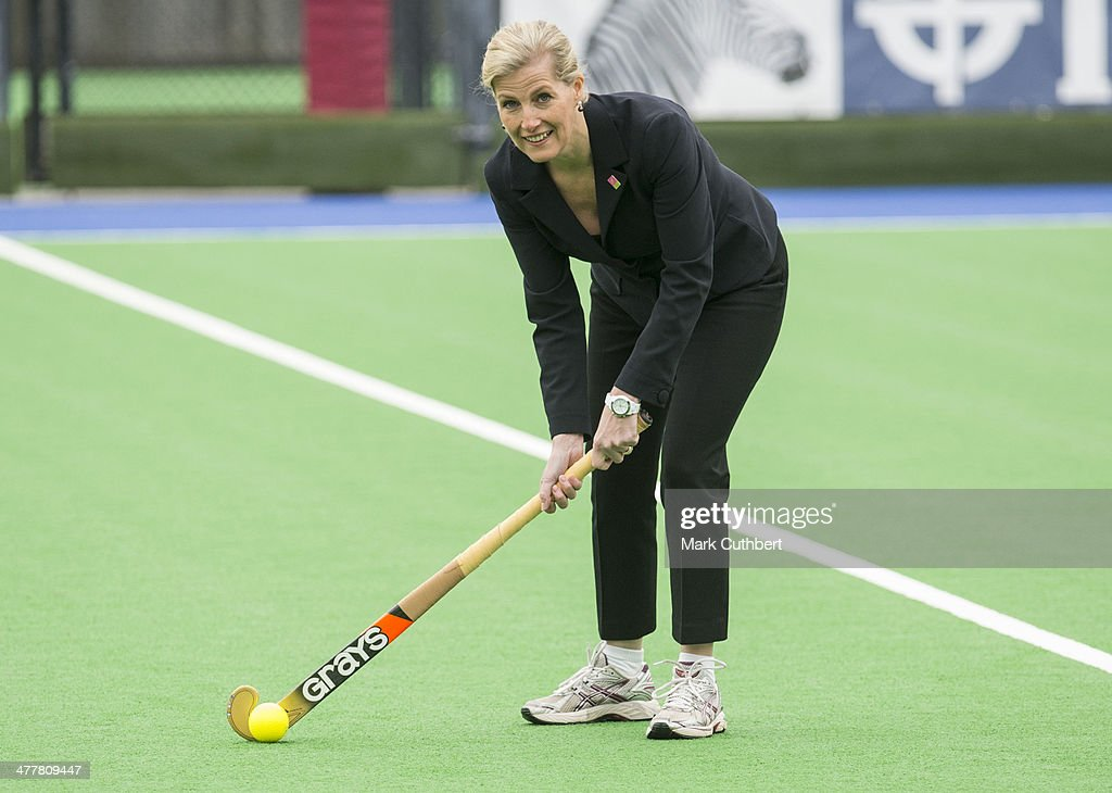 Sophie RhysJones Countess of Wessex takes part in a training session during a visit to the England hockey team at Bisham Abbey on March 11 2014 in...