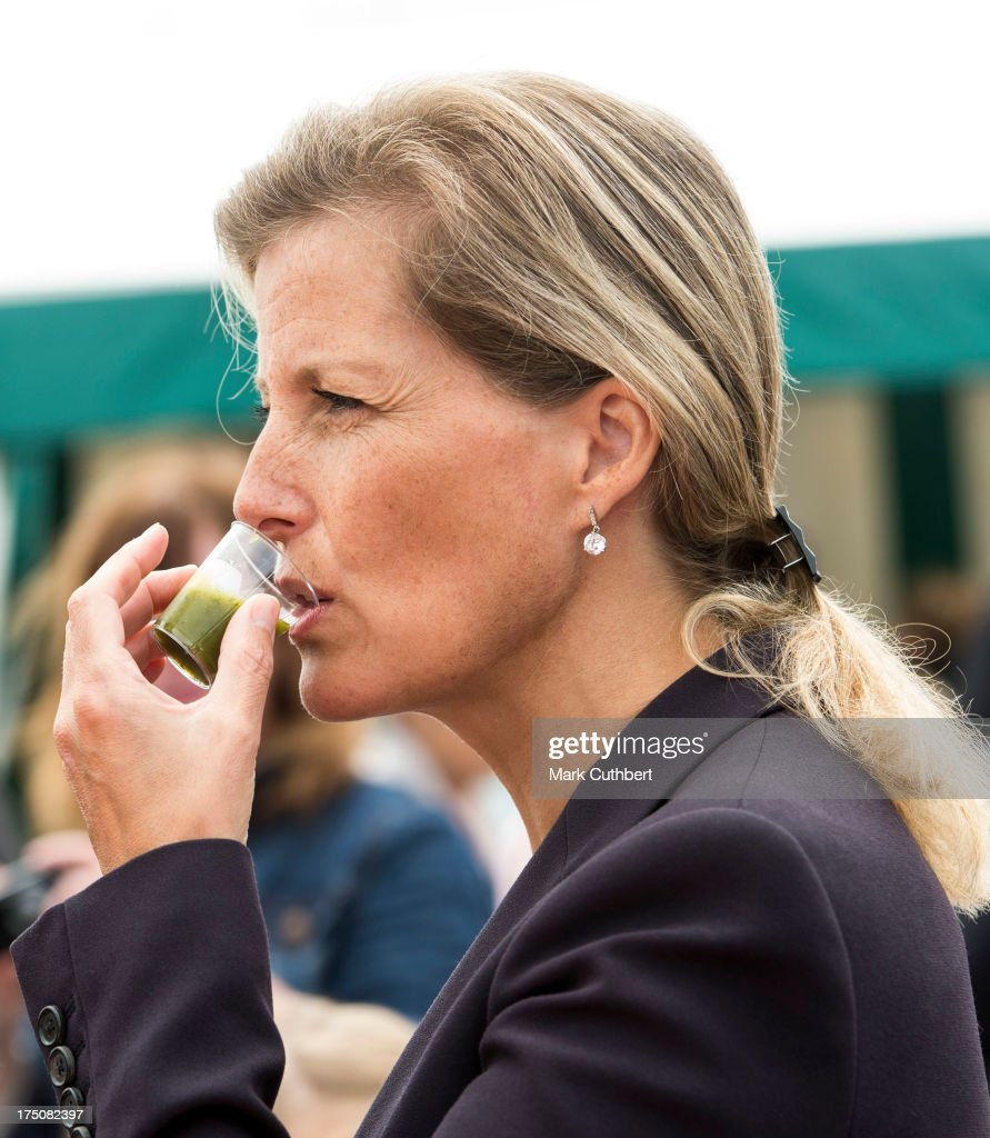 Sophie Rhys-Jones, Countess of Wessex tries a Watercress smoothie during her visit to the New Forest and Hampshire county show at The Showground, New Park on July 31, 2013 in Brockenhurst, England.