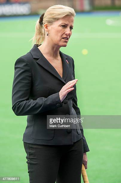 Sophie RhysJones Countess of Wessex visits the England hockey team at Bisham Abbey on March 11 2014 in Marlow England
