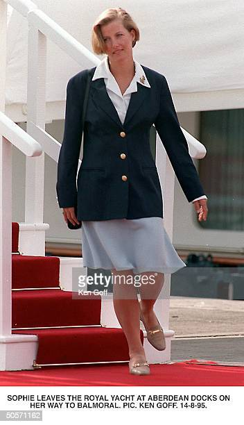 Sophie RhysJones friend of Britain's Prince Edward leaving the Royal Yacht at Aberdeen Docks on her way to Balmoral