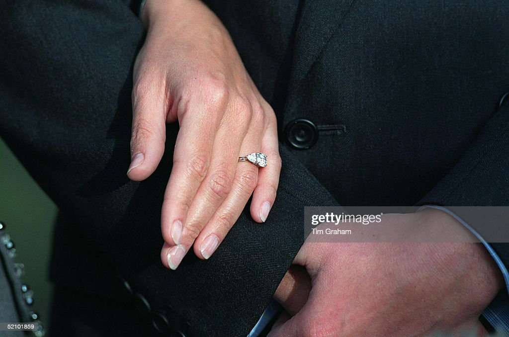 Sophie Rhys-jones On The Day Of Her Engagement, Posing For Pictures At St. James's Palace In London. A Close-up Of The Engagement Ring.