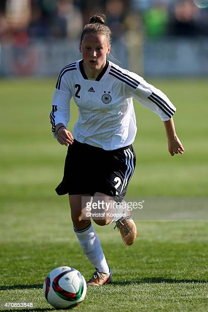 Sophie Riepl of Germany runs with the ball during the U15 girl's international friendly match between Germany and Netherlands at Sportpark Hanwische...