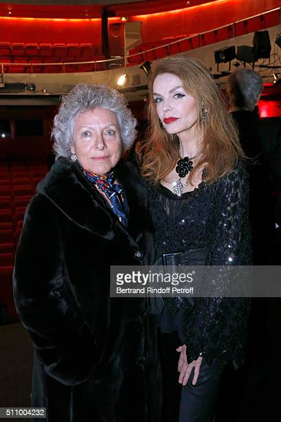 Sophie Rochas and Actress of the Piece Cyrielle Clair attend 'Le Retour De Marlene Dietrich' Theater Play at Espace Pierre Cardin on February 17 2016...