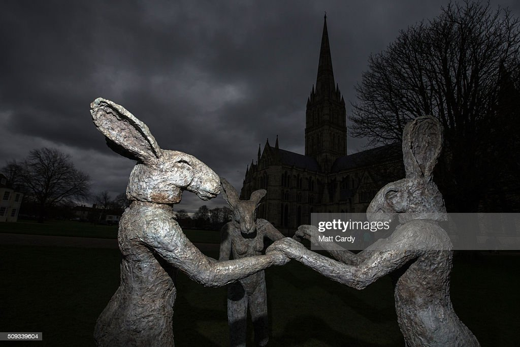 Sophie Rhyder's sculpture Dancing Ladies, that has been installed in the grounds of Salisbury Cathedral is seen as part of an exhibition by the artist on February 10, 2016 in Salisbury, England. The solo exhibition, Relationships, featuring life-sized Minotaurs, Lady Hares and giant 20ft high clasped hands installed in and around the historic Cathedral, opens on February 12 and runs until July 3.