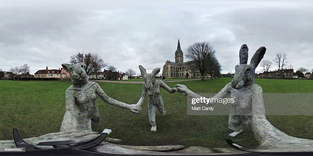 Sophie Ryder's sculpture Dancing Ladies, that has been installed in the grounds of Salisbury Cathedral is seen as part of an exhibition by the artist on February 10, 2016 in Salisbury, England. The solo exhibition, Relationships, featuring life-sized Minotaurs, Lady Hares and giant 20ft high clasped hands installed in and around the historic Cathedral, opens on February 12 and runs until July 3.