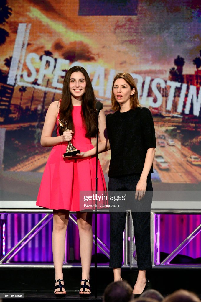 Sophie Savides accepts the Special Distinction Award on behalf of cinematographer Harris Savides from presenter <a gi-track='captionPersonalityLinkClicked' href=/galleries/search?phrase=Sofia+Coppola&family=editorial&specificpeople=202230 ng-click='$event.stopPropagation()'>Sofia Coppola</a> onstage during the 2013 Film Independent Spirit Awards at Santa Monica Beach on February 23, 2013 in Santa Monica, California.